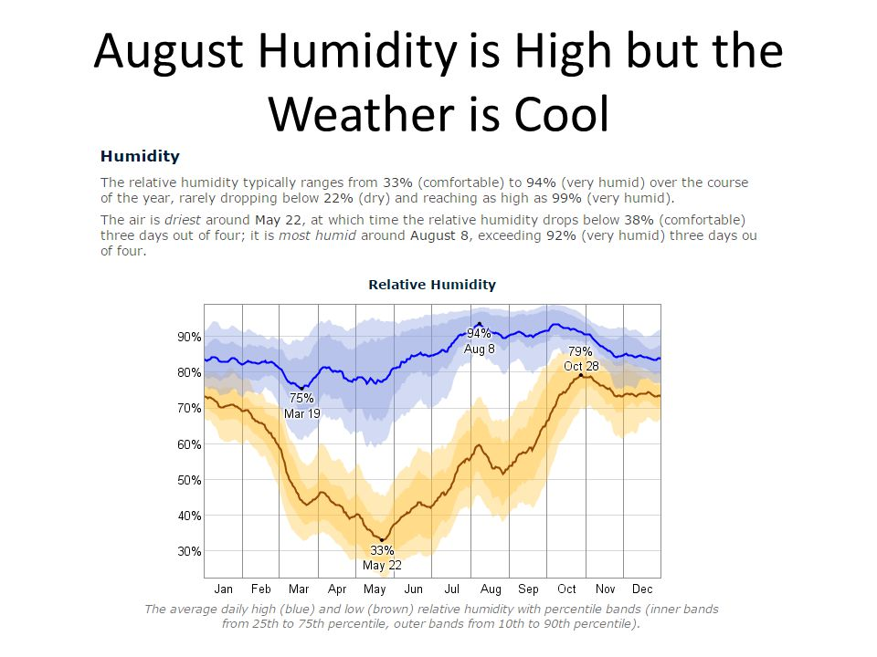 August Humidity is High but the Weather is Cool