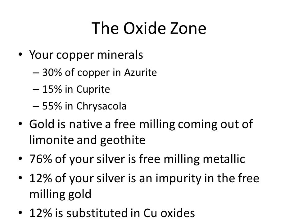 The Oxide Zone Your copper minerals – 30% of copper in Azurite – 15% in Cuprite – 55% in Chrysacola Gold is native a free milling coming out of limonite and geothite 76% of your silver is free milling metallic 12% of your silver is an impurity in the free milling gold 12% is substituted in Cu oxides