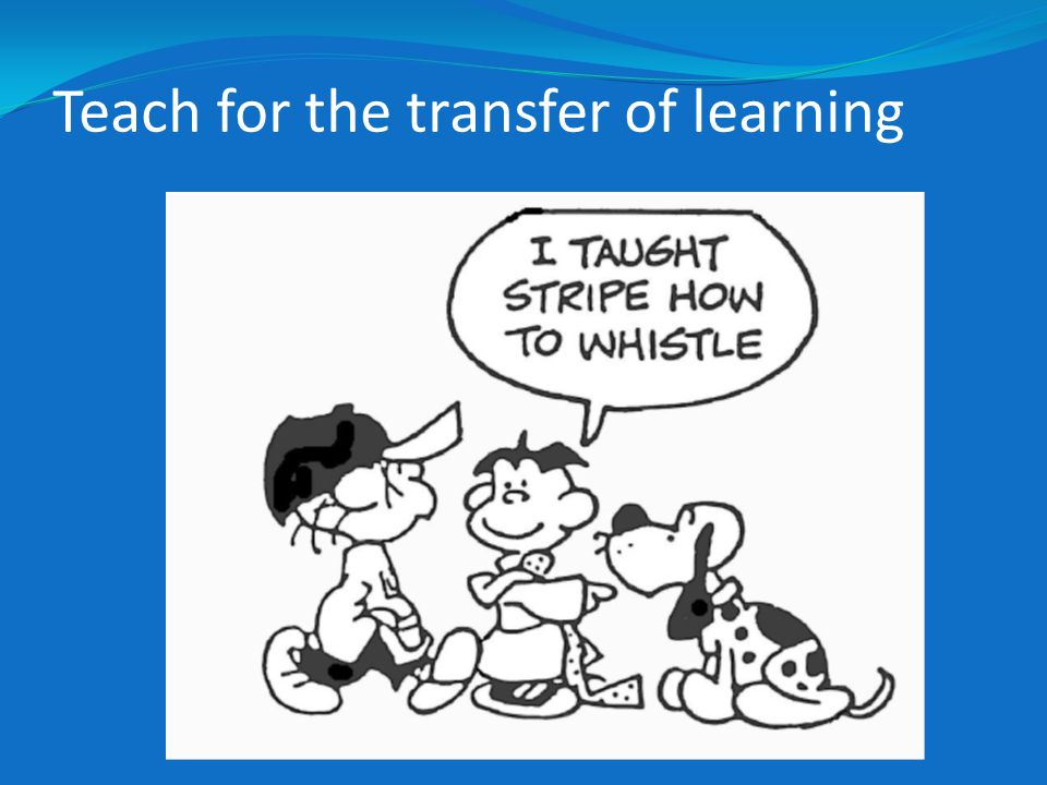 Teach for the transfer of learning