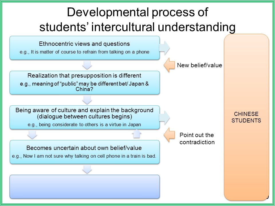 Developmental process of students' intercultural understanding 10 Ethnocentric views and questions e.g., It is matter of course to refrain from talking on a phone Realization that presupposition is different e.g., meaning of public may be different bet/ Japan & China.