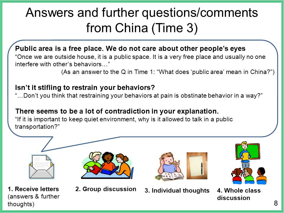 Answers and further questions/comments from China (Time 3) 8 1. Receive letters (answers & further thoughts) 2. Group discussion 3. Individual thought