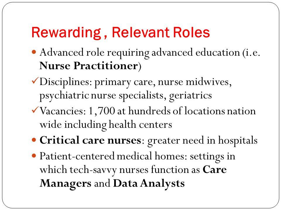 Rewarding, Relevant Roles Advanced role requiring advanced education (i.e. Nurse Practitioner) Disciplines: primary care, nurse midwives, psychiatric