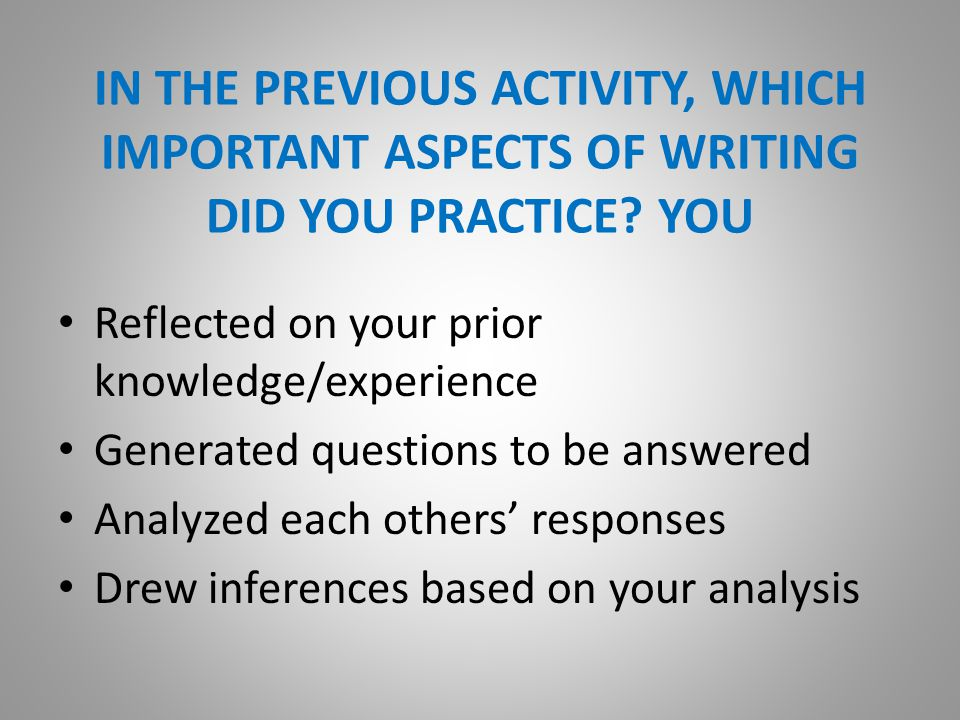 SESSION OBJECTIVES Surface and build on your current understanding about the College and Career Readiness (CCR) Writing Standards for Adults, with special attention to the key Instructional Shifts that they and all of the CCR English Language Arts (ELA) standards require.