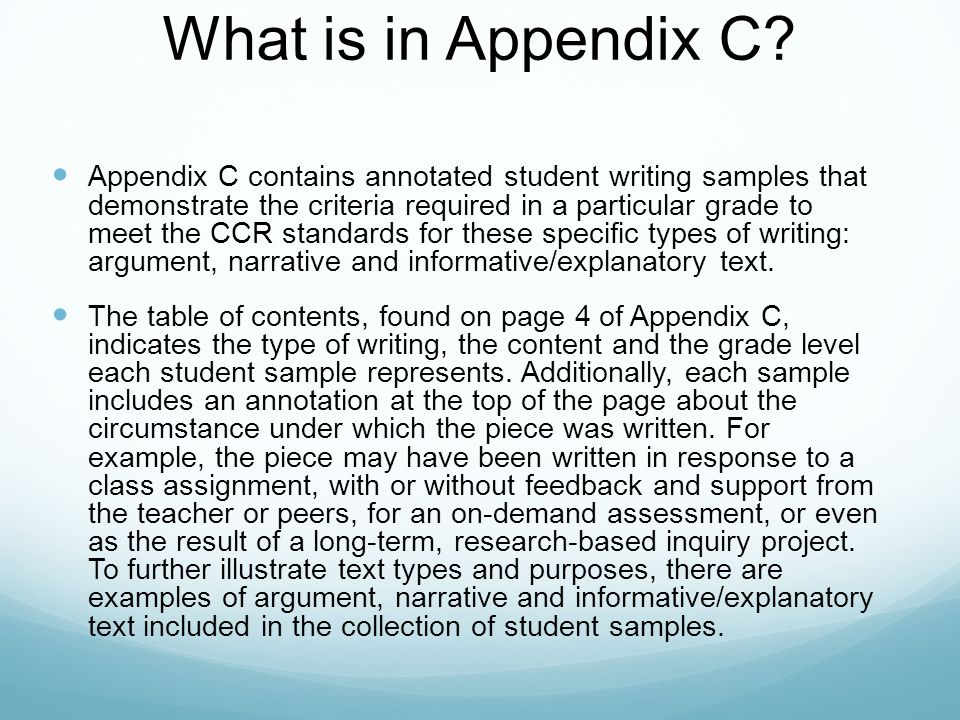What is in Appendix C.