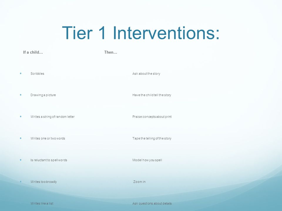 Tier 1 Interventions: If a child… Then… Scribbles Ask about the story Drawing a picture Have the child tell the story Writes a string of random letter Praise concepts about print Writes one or two words Tape the telling of the story Is reluctant to spell words Model how you spell Writes too broadly Zoom in Writes like a list Ask questions about details