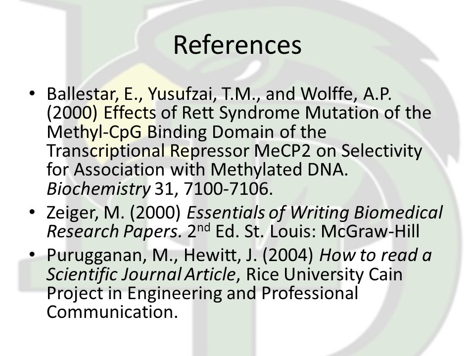 References Ballestar, E., Yusufzai, T.M., and Wolffe, A.P.