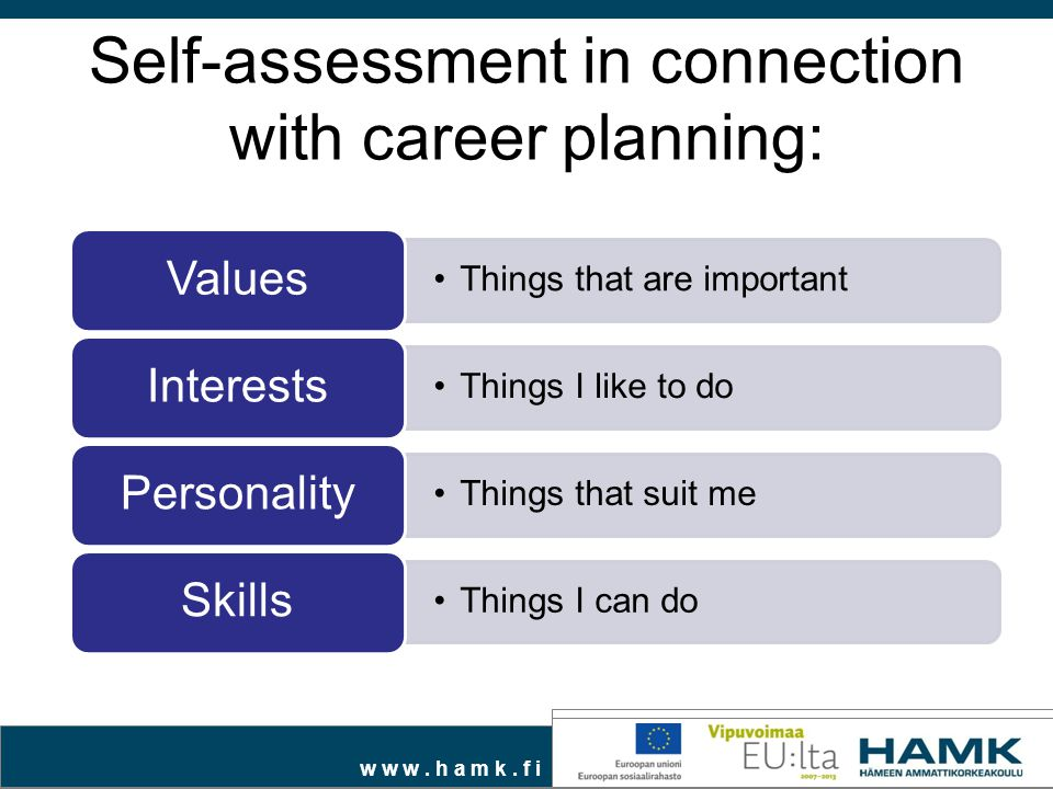 w w w. h a m k. f i Self-assessment in connection with career planning: