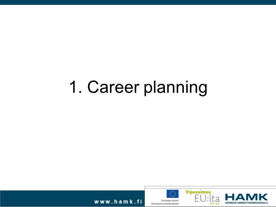 w w w. h a m k. f i 1. Career planning