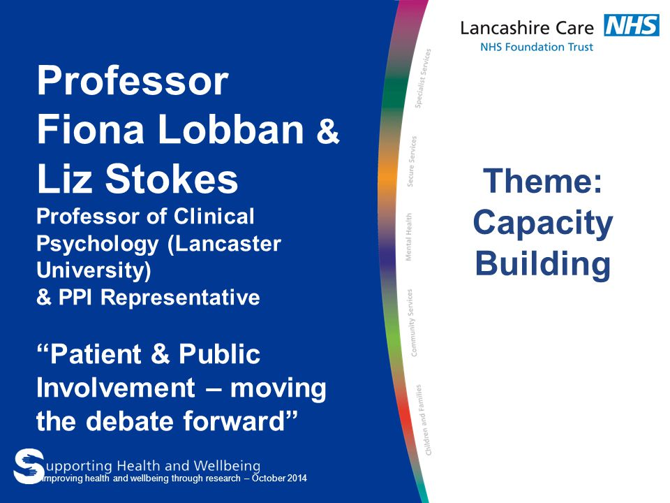 Professor Fiona Lobban & Liz Stokes Professor of Clinical Psychology (Lancaster University) & PPI Representative Patient & Public Involvement – moving the debate forward Theme: Capacity Building Improving health and wellbeing through research – October 2014