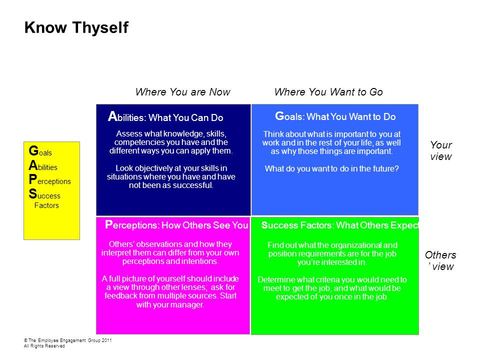 Know Thyself Where You are NowWhere You Want to Go Your view Others ' view G oals: What You Want to Do Think about what is important to you at work and in the rest of your life, as well as why those things are important.