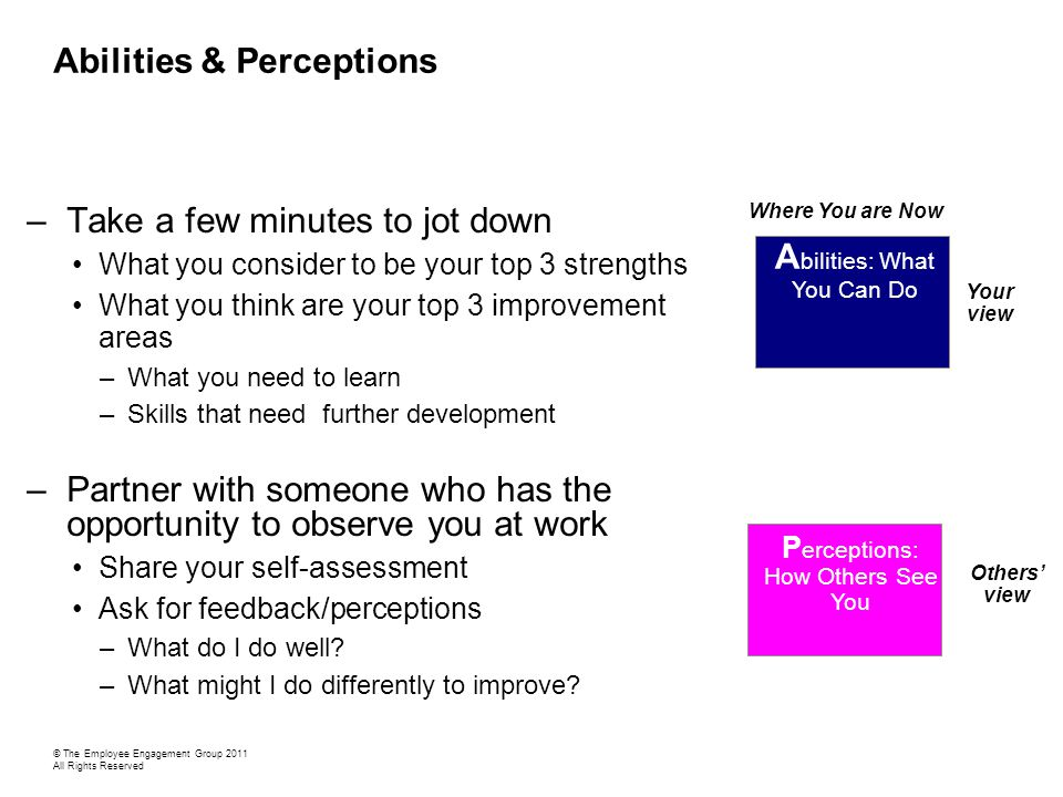 Abilities & Perceptions –Take a few minutes to jot down What you consider to be your top 3 strengths What you think are your top 3 improvement areas –What you need to learn –Skills that need further development –Partner with someone who has the opportunity to observe you at work Share your self-assessment Ask for feedback/perceptions –What do I do well.