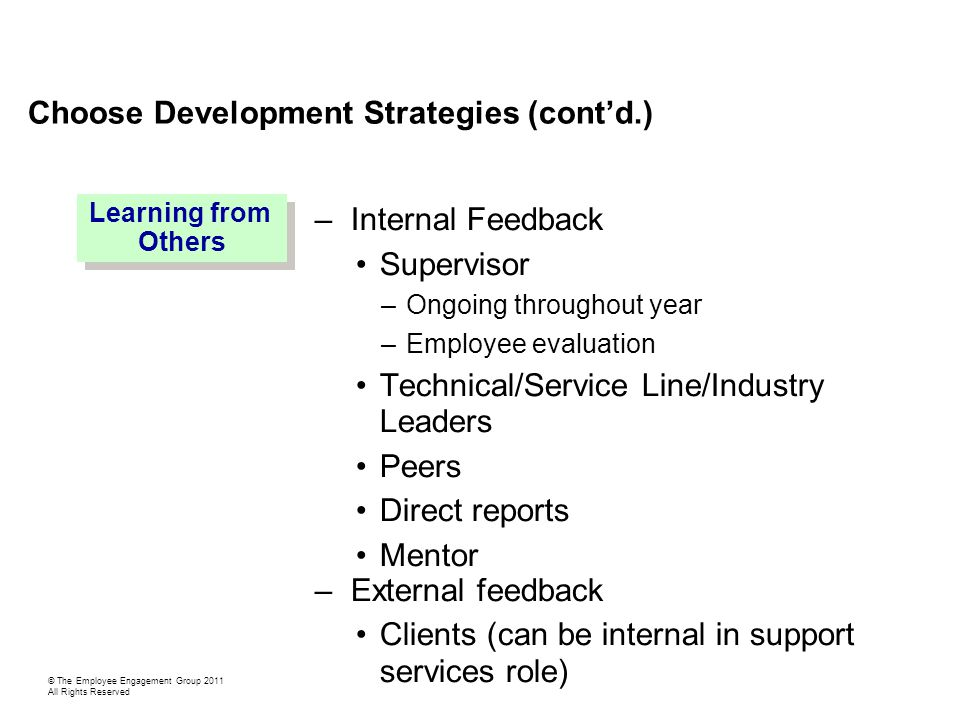 Choose Development Strategies (cont'd.) –Internal Feedback Supervisor –Ongoing throughout year –Employee evaluation Technical/Service Line/Industry Leaders Peers Direct reports Mentor –External feedback Clients (can be internal in support services role) Learning from Others Learning from Others © The Employee Engagement Group 2011 All Rights Reserved