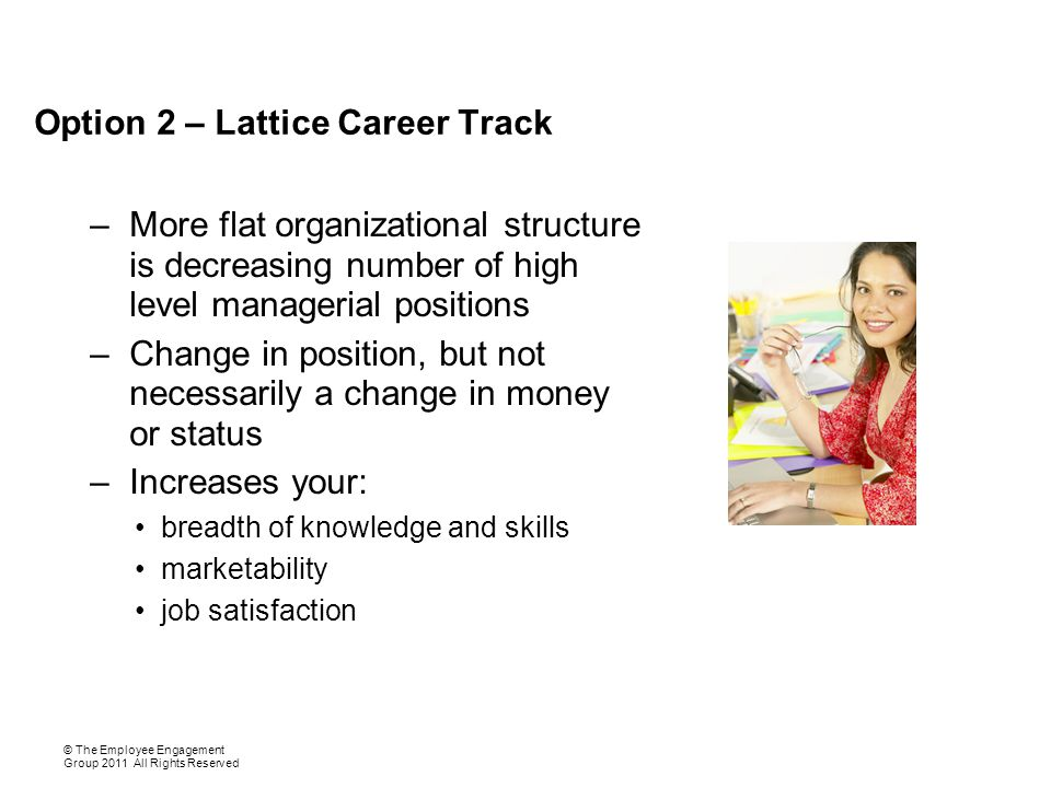 Option 2 – Lattice Career Track –More flat organizational structure is decreasing number of high level managerial positions –Change in position, but not necessarily a change in money or status –Increases your: breadth of knowledge and skills marketability job satisfaction © The Employee Engagement Group 2011 All Rights Reserved