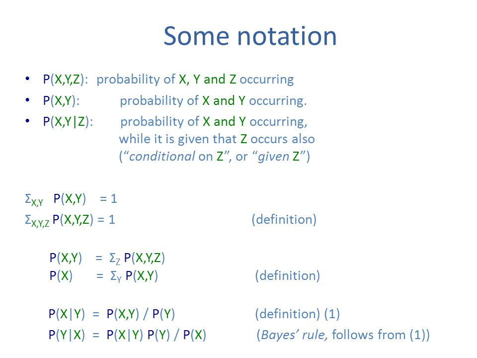 Some notation P(X,Y,Z): probability of X, Y and Z occurring P(X,Y): probability of X and Y occurring.