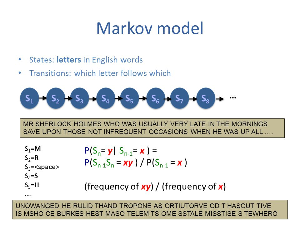 Markov model States: letters in English words Transitions: which letter follows which S1S1 S1S1 S2S2 S2S2 S3S3 S3S3 S4S4 S4S4 S5S5 S5S5 S6S6 S6S6 S7S7 S7S7 S8S8 S8S8 … MR SHERLOCK HOLMES WHO WAS USUALLY VERY LATE IN THE MORNINGS SAVE UPON THOSE NOT INFREQUENT OCCASIONS WHEN HE WAS UP ALL ….