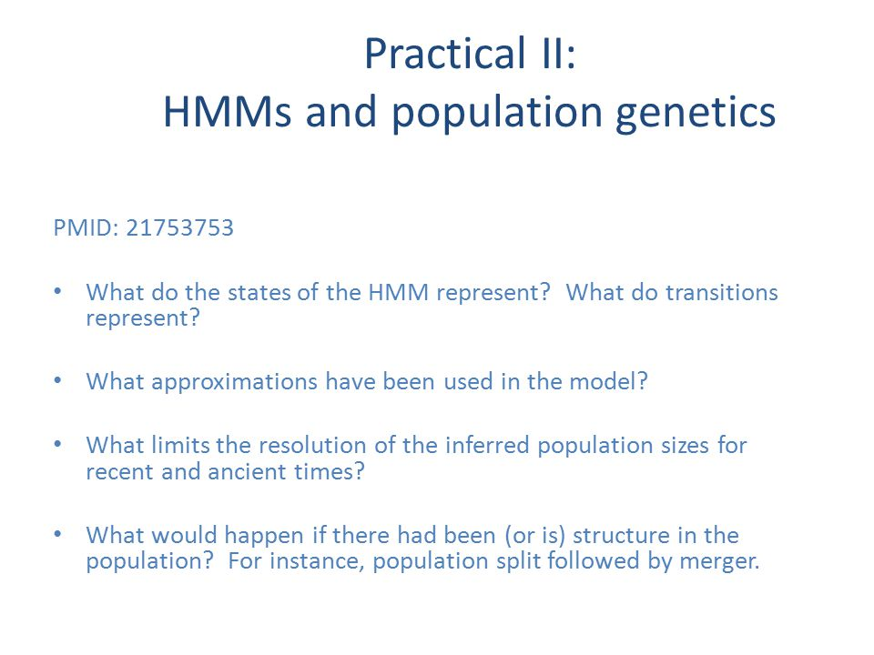 PMID: 21753753 What do the states of the HMM represent.