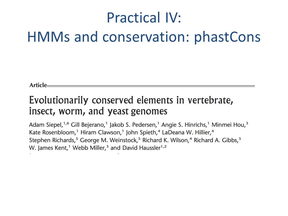 Practical IV: HMMs and conservation: phastCons