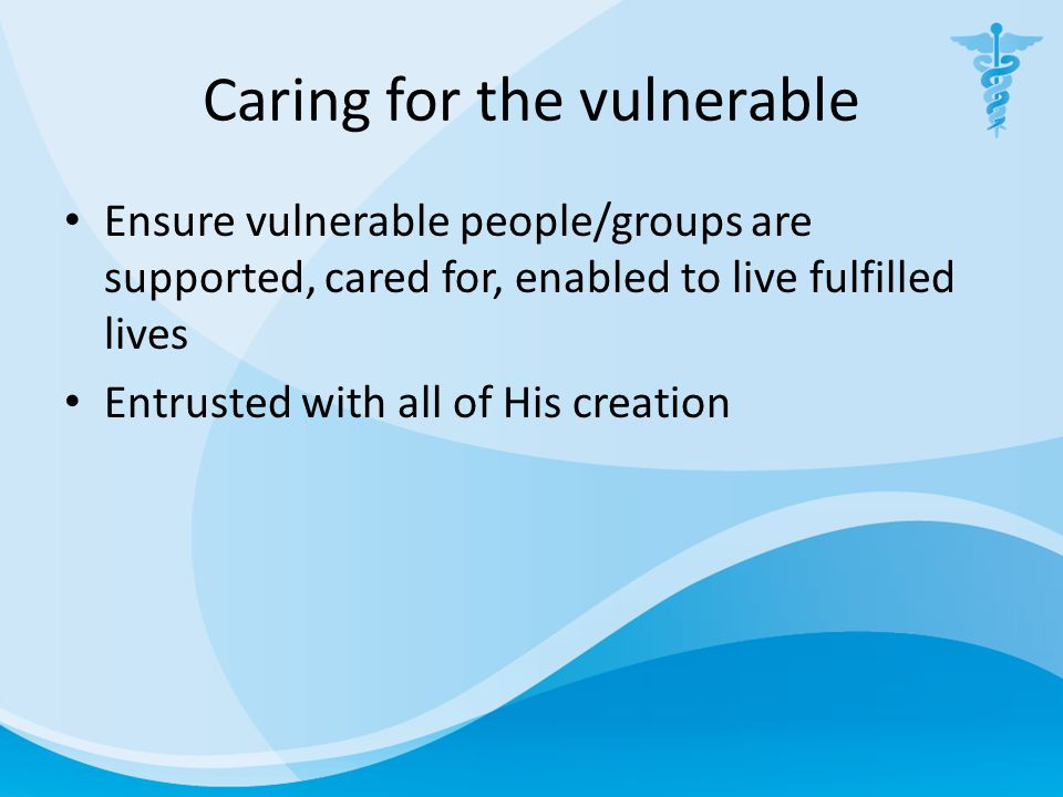 Caring for the vulnerable Ensure vulnerable people/groups are supported, cared for, enabled to live fulfilled lives Entrusted with all of His creation