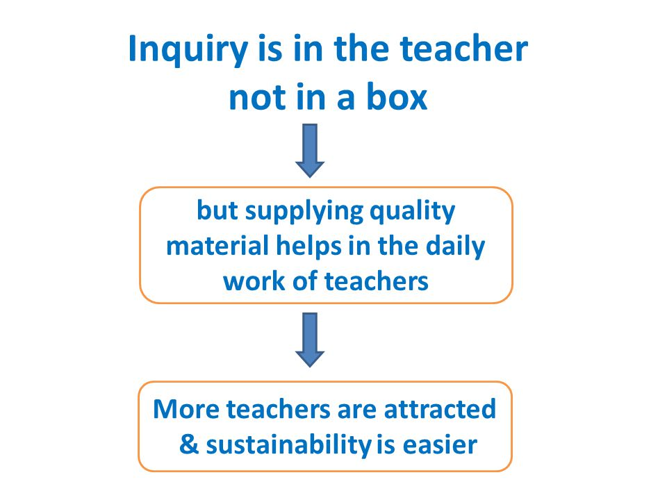 Inquiry is in the teacher not in a box but supplying quality material helps in the daily work of teachers More teachers are attracted & sustainability