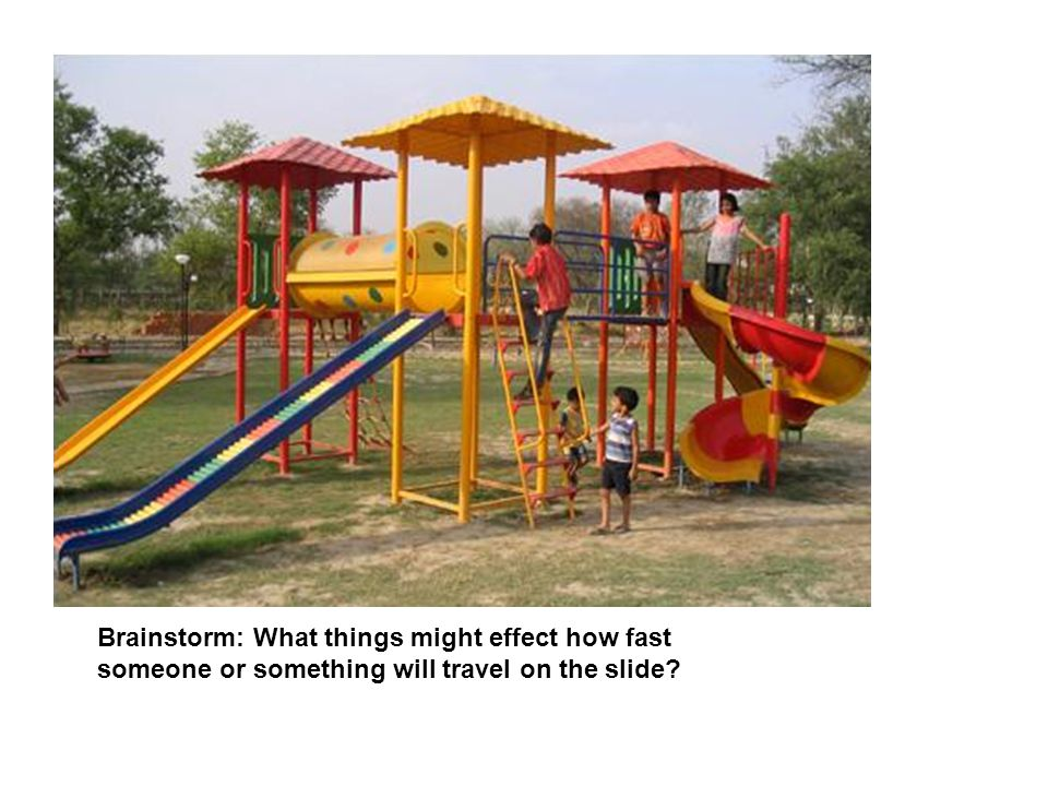 Brainstorm: What things might effect how fast someone or something will travel on the slide?