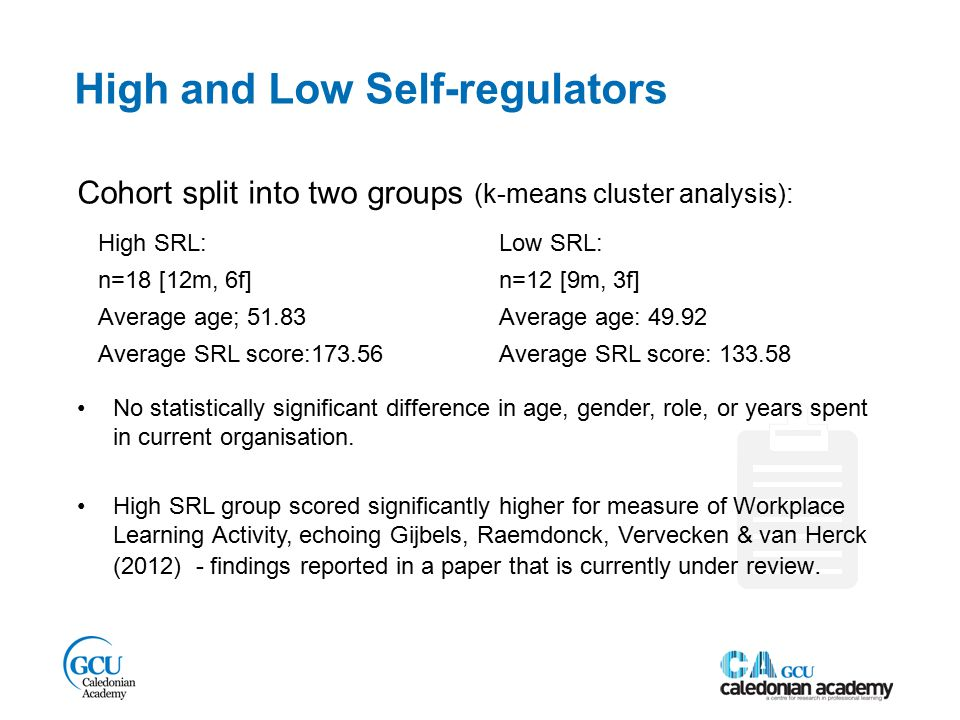 High and Low Self-regulators High SRL: n=18 [12m, 6f] Average age; 51.83 Average SRL score:173.56 Low SRL: n=12 [9m, 3f] Average age: 49.92 Average SRL score: 133.58 Cohort split into two groups (k-means cluster analysis): No statistically significant difference in age, gender, role, or years spent in current organisation.