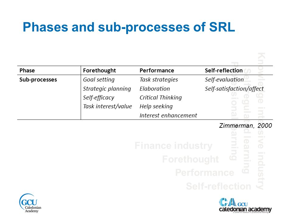 Phases and sub-processes of SRL Finance industry Self-regulated learning Performance Knowledge intensive industry Forethought Self-reflection Professional learning PhaseForethoughtPerformanceSelf-reflection Sub-processes Goal setting Strategic planning Self-efficacy Task interest/value Task strategies Elaboration Critical Thinking Help seeking Interest enhancement Self-evaluation Self-satisfaction/affect Zimmerman, 2000