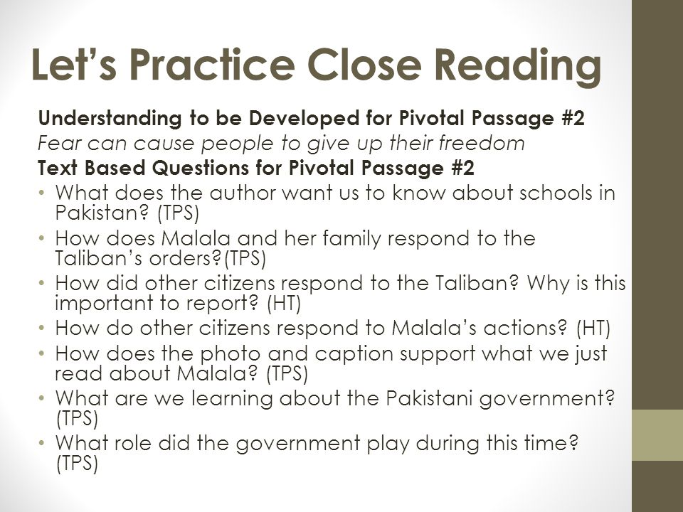 Let's Practice Close Reading Understanding to be Developed for Pivotal Passage #2 Fear can cause people to give up their freedom Text Based Questions