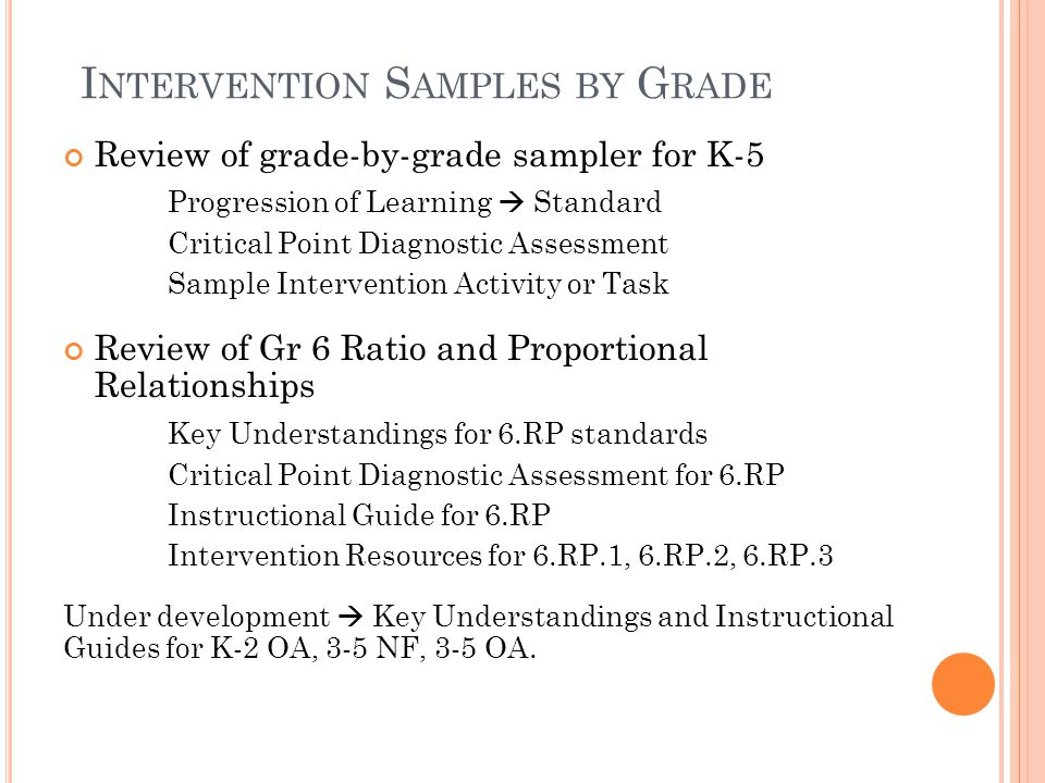 I NTERVENTION S AMPLES BY G RADE Review of grade-by-grade sampler for K-5 Progression of Learning  Standard Critical Point Diagnostic Assessment Sample Intervention Activity or Task Review of Gr 6 Ratio and Proportional Relationships Key Understandings for 6.RP standards Critical Point Diagnostic Assessment for 6.RP Instructional Guide for 6.RP Intervention Resources for 6.RP.1, 6.RP.2, 6.RP.3 Under development  Key Understandings and Instructional Guides for K-2 OA, 3-5 NF, 3-5 OA.
