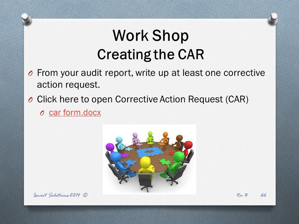Work Shop Creating the CAR O From your audit report, write up at least one corrective action request.
