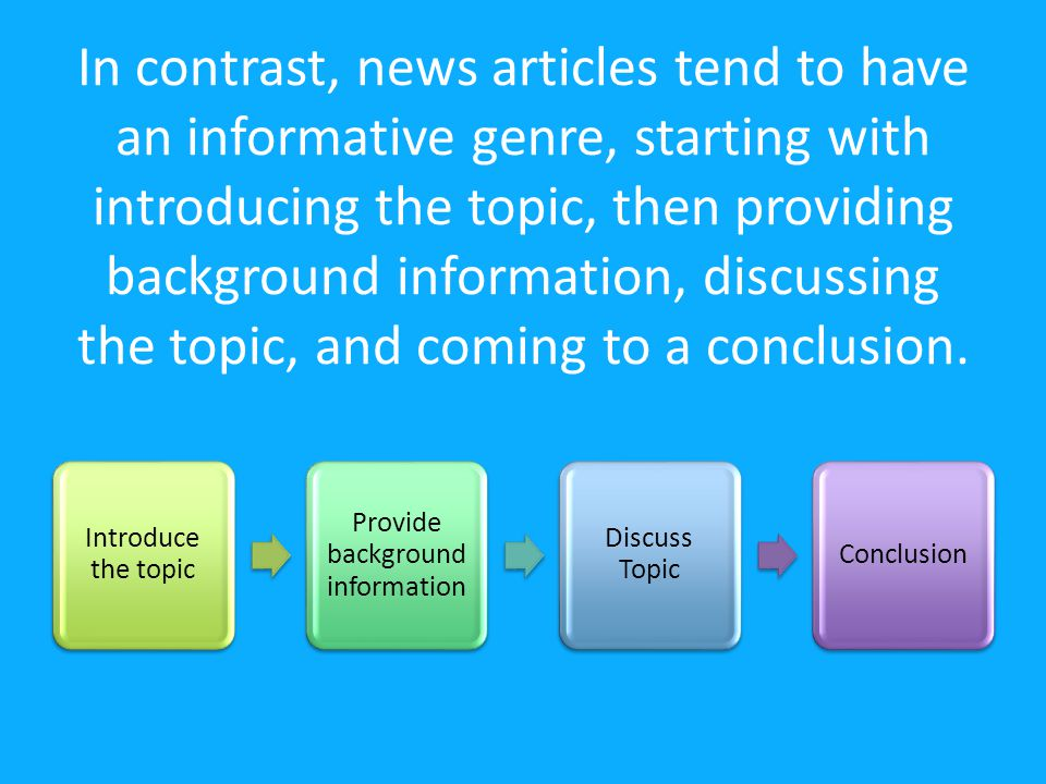 In contrast, news articles tend to have an informative genre, starting with introducing the topic, then providing background information, discussing the topic, and coming to a conclusion.