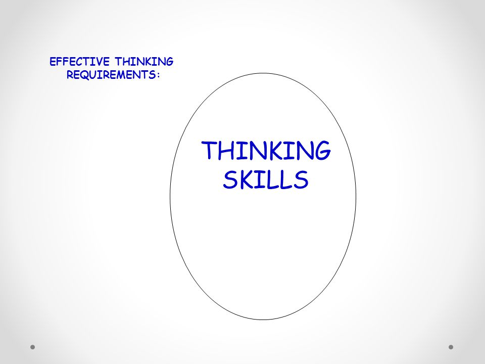 THINKING SKILLS EFFECTIVE THINKING REQUIREMENTS: