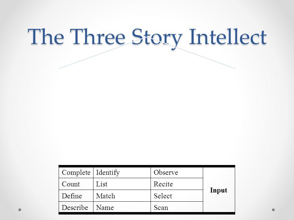 The Three Story Intellect CompleteIdentifyObserve Input CountListRecite DefineMatchSelect DescribeNameScan