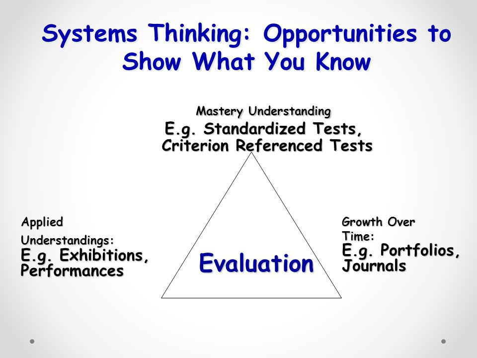 Systems Thinking: Opportunities to Show What You Know Mastery Understanding E.g.