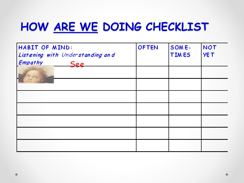 HOW ARE WE DOING CHECKLIST See