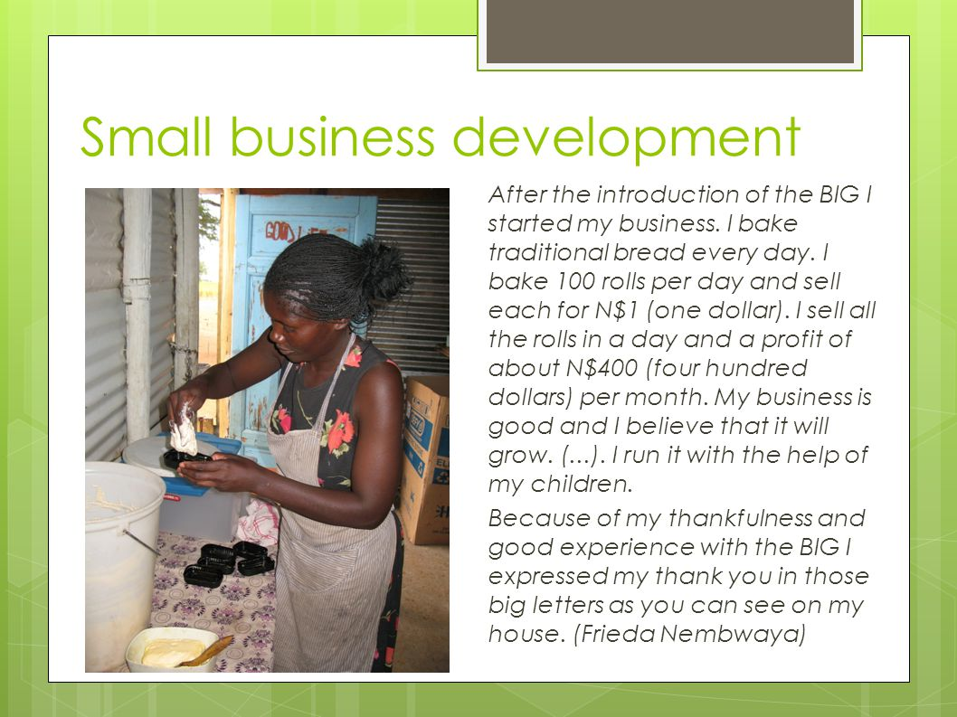 Small business development After the introduction of the BIG I started my business.