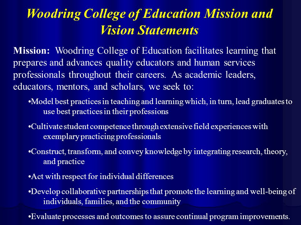 Mission: Woodring College of Education facilitates learning that prepares and advances quality educators and human services professionals throughout their careers.