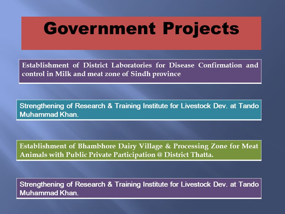 Establishment of District Laboratories for Disease Confirmation and control in Milk and meat zone of Sindh province Strengthening of Research & Training Institute for Livestock Dev.