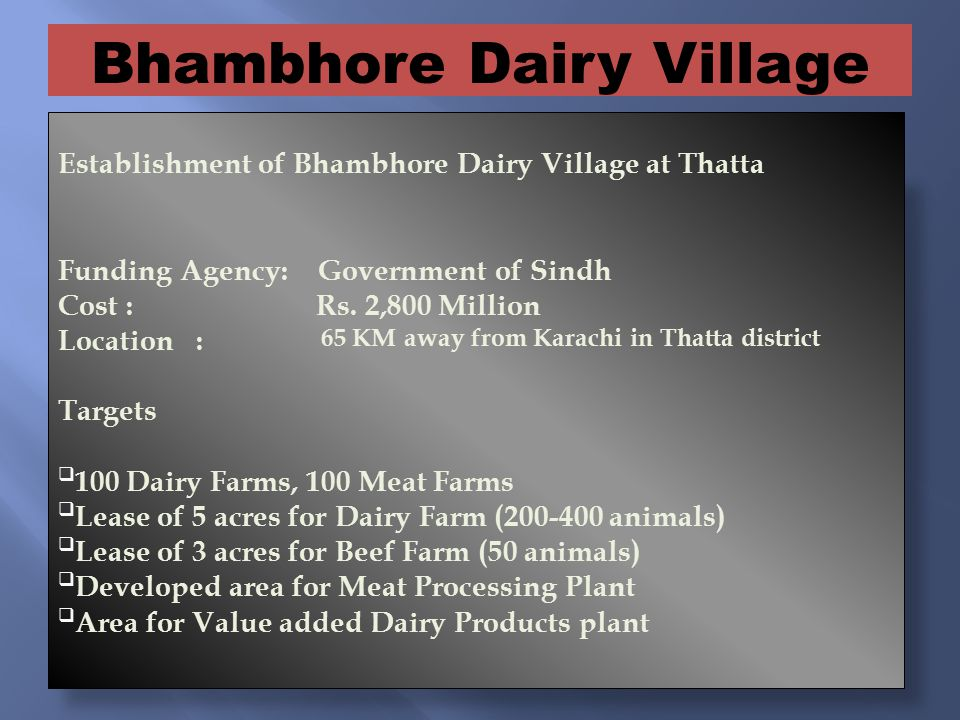 Establishment of Bhambhore Dairy Village at Thatta Funding Agency: Government of Sindh Cost : Rs.