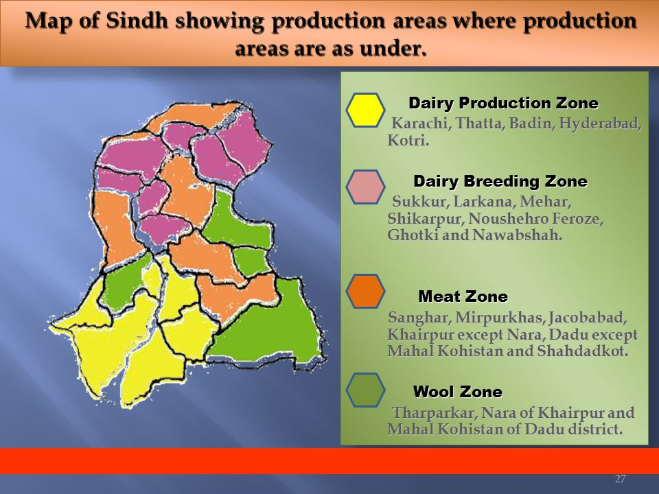 Dairy Production Zone 1. Dairy Production Zone Karachi, Thatta, Badin, Hyderabad, Kotri.