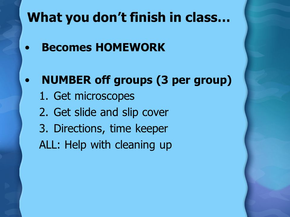 What you don't finish in class… Becomes HOMEWORK NUMBER off groups (3 per group) 1.Get microscopes 2.Get slide and slip cover 3.Directions, time keepe