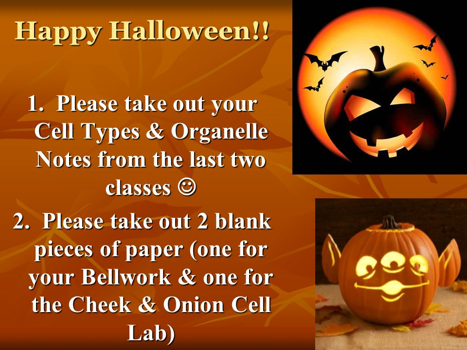Happy Halloween!! 1. Please take out your Cell Types & Organelle Notes from the last two classes 1. Please take out your Cell Types & Organelle Notes