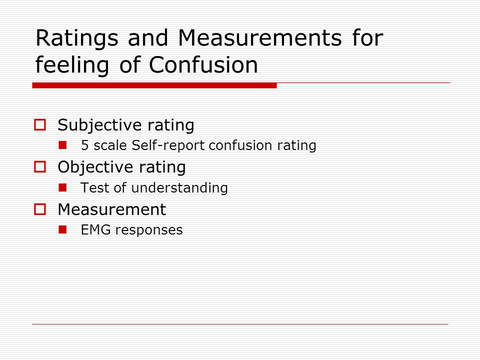 Ratings and Measurements for feeling of Confusion  Subjective rating 5 scale Self-report confusion rating  Objective rating Test of understanding  Measurement EMG responses