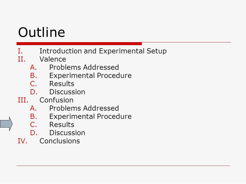 Outline I.Introduction and Experimental Setup II.Valence A.Problems Addressed B.Experimental Procedure C.Results D.Discussion III.Confusion A.Problems