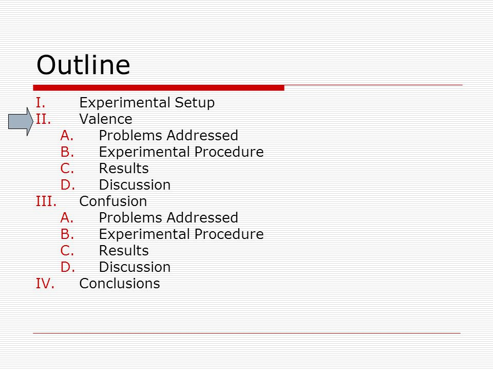 Outline I.Experimental Setup II.Valence A.Problems Addressed B.Experimental Procedure C.Results D.Discussion III.Confusion A.Problems Addressed B.Expe
