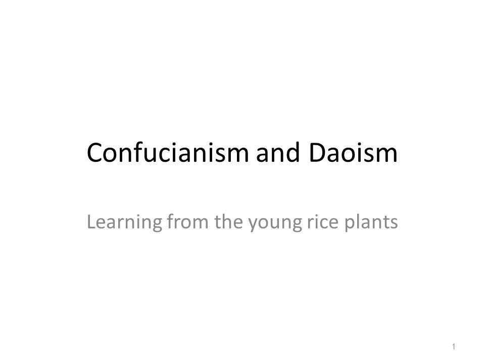Confucianism and Daoism Learning from the young rice plants 1