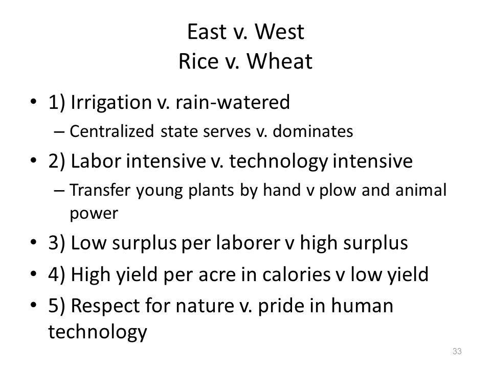 East v. West Rice v. Wheat 1) Irrigation v. rain-watered – Centralized state serves v.