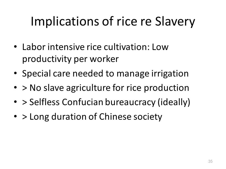 Implications of rice re Slavery Labor intensive rice cultivation: Low productivity per worker Special care needed to manage irrigation > No slave agriculture for rice production > Selfless Confucian bureaucracy (ideally) > Long duration of Chinese society 35