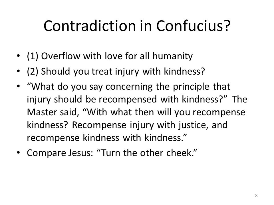 Solution to contradiction Inner respect: jen: – Therefore love everyone.