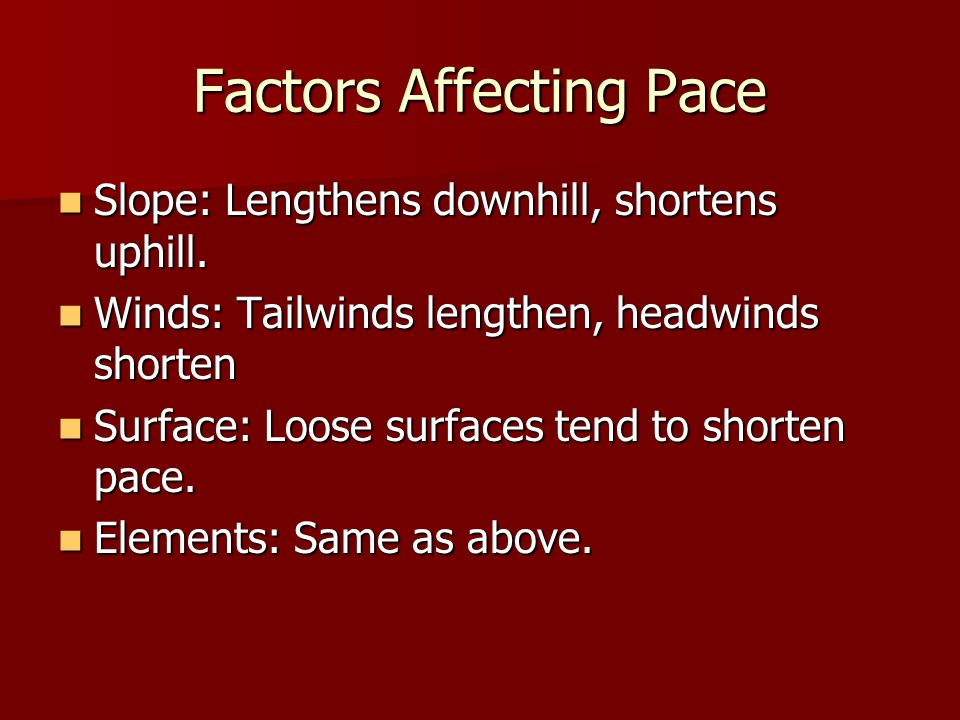 Factors Affecting Pace Slope: Lengthens downhill, shortens uphill.