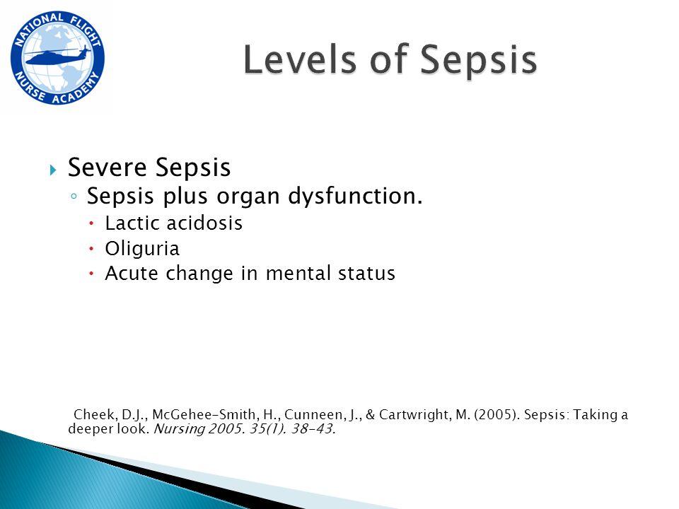  Severe Sepsis ◦ Sepsis plus organ dysfunction.